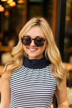 karen walker super duper sunglasses, striped top, paris