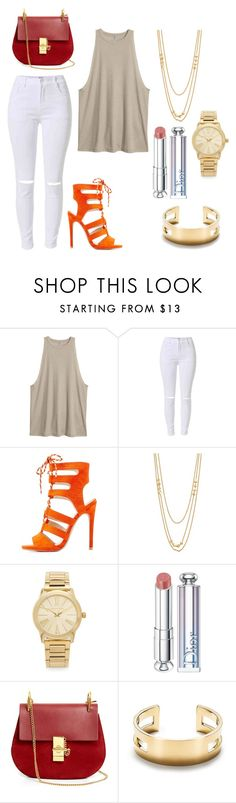 """Orange and Gold"" by savannahgreene-i ❤ liked on Polyvore featuring Qupid, Gorjana, Michael Kors, Christian Dior, Chloé and Tiffany & Co."