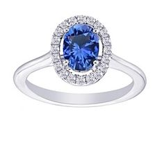 0.90 Ct Oval Cut Sapphire & Natural Diamond 14K White Gold Floating Halo Ring by JewelryHub on Opensky