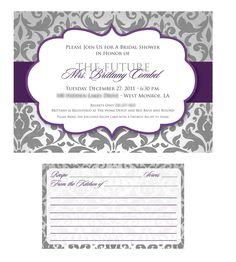 Damask recipe wedding shower invitation + recipe cards