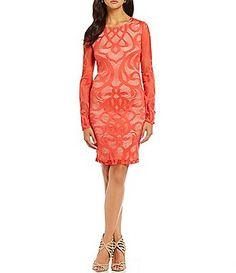 abf1e67035 Mystic Illusion Long-Sleeve Patterned Lace Sheath Dress Junior Dresses