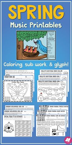 Spring music worksheets and centers activities, perfect for sub plans too!  The listening glyph will look fab on your spring bulletin board.