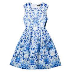 Hot Sale! 2014 Bingbing Fan In Ellie Saab Fashion Dresses Vintage Printed Round Collar Giant Swing Sleeveless Celebrity Dresses $89.99 - 93.99