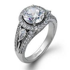 Shop online SIMON G MR1503 Halo 18K - White Gold Diamond Engagement Ring at Arthur's Jewelers. Free Shipping