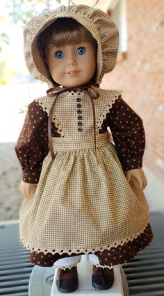 Prairie Style Dress, Pinafore, Pantalettes and bonnet by Designed4Dolls on Etsy $29.95