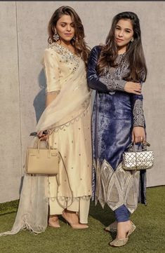 Image may contain: 2 people, people standing Simple Pakistani Dresses, Pakistani Bridal Dresses, Pakistani Dress Design, Pakistani Outfits, Indian Fashion Dresses, Dress Indian Style, Indian Designer Outfits, Simple Kurti Designs, Stylish Dress Designs