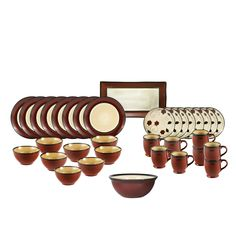 Round Red Leaves Service for 8 With Serveware