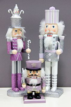 Purple  & Silver Nutcracker dolls
