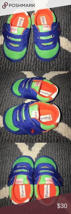 Ralph Lauren Crib Shoes You won't find these shoes in store! Ran across them in a little boutique! Super adorable and your little one will get tons of compliments! They look brand new, absolutely nothing wrong with them. Happy Shopping! Ralph Lauren Shoes Baby & Walker