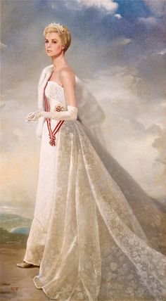 Grace Kelly (HSH Princess Grace of Monaco Painting by Ralph Wolfe Cowan) Moda Grace Kelly, Grace Kelly Style, Classic Hollywood, Old Hollywood, Princesa Grace Kelly, Grace Kelly Wedding, Patricia Kelly, Monaco Royal Family, Princess Aesthetic