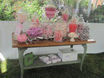 Candy Favor Station. Pretty in Pinks! Using Apothecary Jars for the candy. The glass and wood table look wonderful together! #candystation #pinkwedding #realwedding #modernwedding #princess by Made From Scratch Catering in Columbus, Ohio