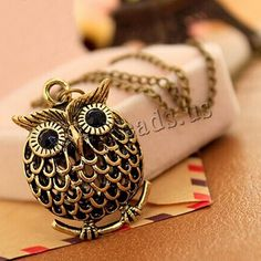 #Zinc #Alloy Sweater Chain #Necklace, #Owl & with #Rhinestone.