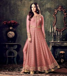 PARTYWEAR NET EMBROIDERED PANT STYLE SUIT Anarkali Suit