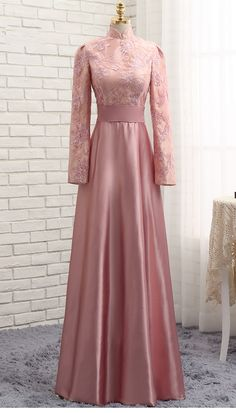 Pink Muslim Evening Dresses A-line Long Sleeves Satin Sequins Elegant Long Evening Gown Prom Dress Prom Gown