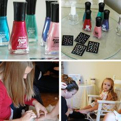 """set up a ""Posies for your Toesies"" pedicure station. Each party guest was able to select a ""fast-drying"" nail polish for their toes along with an adhesive nail art flower for each big toe. (they thought that was SO special)..."""
