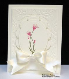 Lovely In White Card...with satin bow.