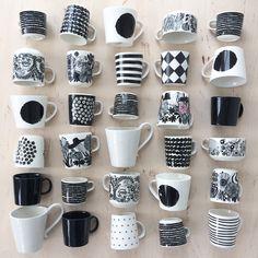 Black and white. By Johanna Sandberg. Rustic Wall Sconces, Rustic Walls, Rustic Decor, Marimekko, Mason Jar Sconce, Nordic Living, White Home Decor, Cabinet Styles, Ceramic Art