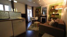 #relooking Dans ce petit appartement, Christophe Alves est parvenu à créer deux lieux aux fonctionnalités distinctes, le salon et la cuisine, pour un effet d'espace plus vaste