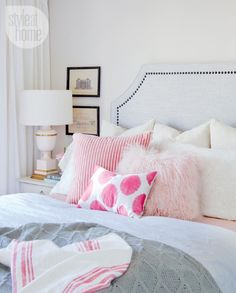 Pink pillow combination - pink and white bedroom - Jillian Harris' Eclectic Home Tour