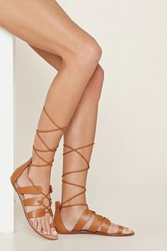 Faux Leather Lace-Up Sandals #stepitup