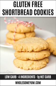 Low Carb Almond Flour Cookies Recipe (Gluten-Free Shortbread Cookies) - 4 Ingredients - This buttery, low carb almond flour cookies recipe has 4 ingredients & net carbs each! Keto gluten-free shortbread cookies with almond flour taste like real ones. Keto Cookies, Gluten Free Shortbread Cookies, Almond Flour Cookies, Gluten Free Cookie Recipes, Almond Flour Recipes, Almond Shortbread Cookie Recipe, Low Sugar Cookies, Best Gluten Free Cookies, Diabetic Cookies