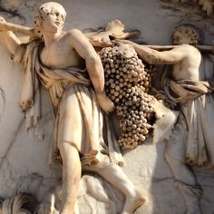 Marble relief of the grape harvest on Milan's magnificent Duomo