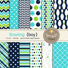 Bowling Boy digital paper for Birthday by JennyLDesignsShop