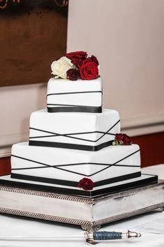 3 tier square black ribbon wedding cake
