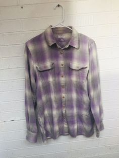0caf3942476 DULUTH TRADING Co Women s Size M Button Front Plaid Purple Gray Flannel  Shirt