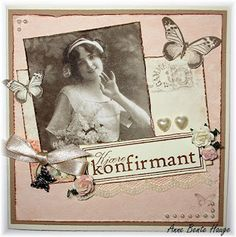 Konfirmasjonskort med ark fra Pion Design.  Laget av Anne Bente