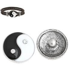 2014 New 5PCs Snap Buttons Fit Snap Bracelet Eight Diagram Rhinestone Silver Tone 20mm