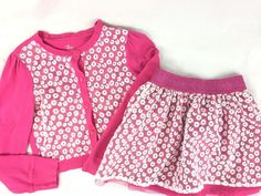 The Children's Place 2PC Girls Outfit Pink White Daisies 7/8 Long Sleeves Skirt #TheChildrensPlace #Everyday #daisies #girlsoutfit