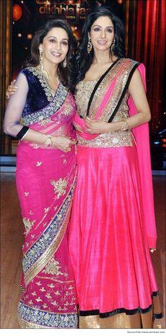 Madhuri Dixit in Saree with Sridevi