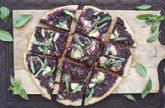 beet pesto pizza with goat cheese and basil - I have so many beets in my garden to use up!