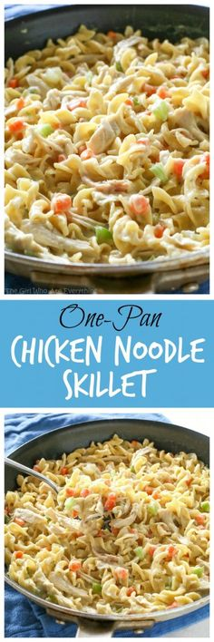Creamy Chicken Noodle Skillet - dinner in under 20 minutes! http://the-girl-who-ate-everything.com