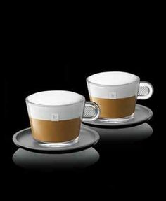 Nespresso Glass; Set of 2 Cappuccino Cups & 2 bicolor black/charcoal Saucers on eBay!