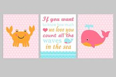 Nautical Nursery Art, Nautical Wall Decor, Girls Ocean Nursery, Crab Nursery Art, Whale Baby Decor, Pink Orange Blue, If You Want To Know: This is a set of the THREE prints shown above. The price includes all three prints. Prints are freshly printed to order on 69 lb commercial