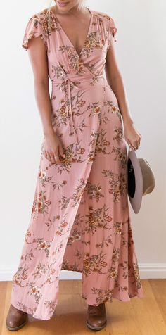 Deep V Neck Short Sleeve Floral Printed Bohemian Maxi Dress