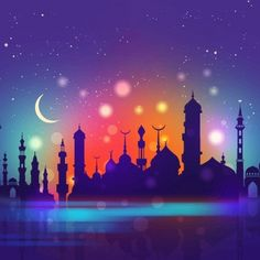 Ramadan background with mosque silhouette and gradient sky Free Vector Eid Mubarak Background, Ramadan Background, Eid Mubarek, Mosque Silhouette, Eid Mubarak Greetings, Ramadan Mubarak, Space Illustration, Mixed Media Canvas, Watercolor Background