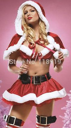 2014 New Womens Sexy Red Christmas Xmas Holiday Party Mrs Miss Santa Costumes Outfits Fancy Boutique Mini Dress Size Medium