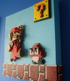 3-D Mario side view perler bead Art by ShampooTeacher