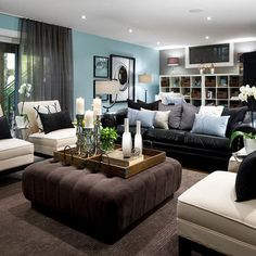 Black leather couches #decor #Blue #colorschemes                                                                                                                                                     More