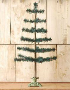 Green Feather Tree with Cast Iron Base | Goose Feather Christmas Tree