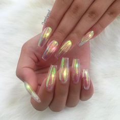 Bubble tapered square tip / Coffin long nails. Iridescent as Heaven! How pretty ❤ #nail #naila