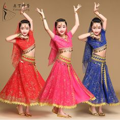db2b75a65 US $18.64 42% OFF|Aliexpress.com : Buy Belly Dance Costume Children  Bollywood Dance Costumes Set Indian Bollywood Kids Dresses 5pcs (Headpieces  Veil Top ...