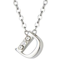 """Silver Swarovski Letter D Necklace (Retail Price $50.00) """"Our Price $16.00"""" only at nomorerack.com"""