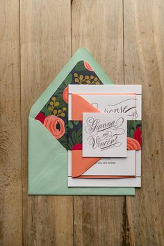 GIANNA Suite Floral Package, Rifle Paper Co envelope liners, calligraphy wedding invitation, handwritten invitation font, Spring wedding invitation, Summer wedding invitation, letterpress wedding invitations, mint, coral, black and white