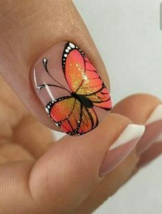 The problem is so many nail art and manicure designs that you'll find online Drip Nails, Toe Nails, Acrylic Nails, Cute Nail Art, Easy Nail Art, Butterfly Nail Art, Butterfly Design, French Nail Art, Toe Nail Designs