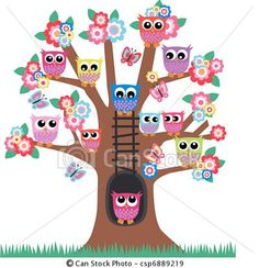 Owls in a tree. Lot of colorful owls sitting in a tree. Owl Crafts, Diy And Crafts, Crafts For Kids, Owl Clip Art, Owl Classroom, Owl Vector, Vector Art, Owl Pictures, Beautiful Owl
