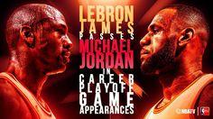 LeBron James surpassed Michael Jordan in career playoff game appearances. Lebron James, Michael Jordan, Jordans, Games, Nba, Career, Basket, Sports, Hs Sports